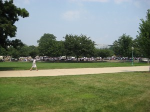A view of the crowd from a distance