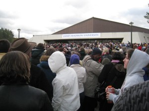A view of the crowd in the back of the building
