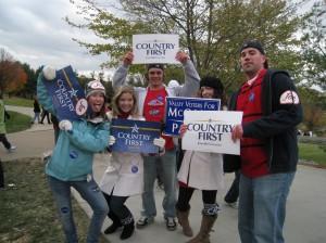 A fairly happy band of pro-McCain students.