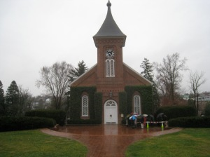 Outside the chapel at 4:30 PM