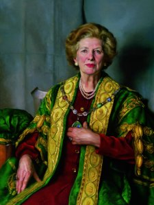 A portrait of Margaret Thatcher as W&M Chancellor by Nelson Shanks.