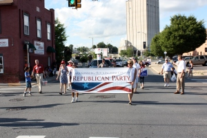 The Republican Procession featuring Delegate Steve Landes of Verona on the far left and Harrisonburg/Rockingham Clerk of Court Chaz Evans-Haywood on the far right